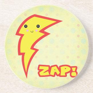 kawaii zap lightning bolt beverage coasters
