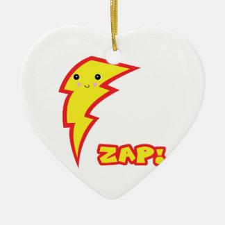 kawaii zap lightning bolt Double-Sided heart ceramic christmas ornament