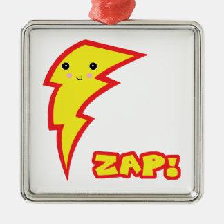 kawaii zap lightning bolt square metal christmas ornament