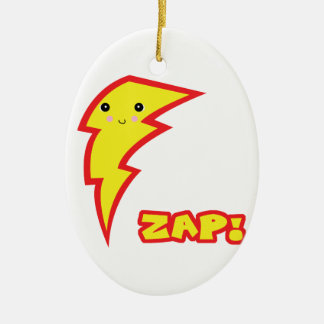 kawaii zap lightning bolt Double-Sided oval ceramic christmas ornament