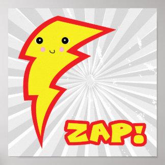 kawaii zap lightning bolt poster