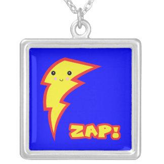 kawaii zap lightning bolt square pendant necklace