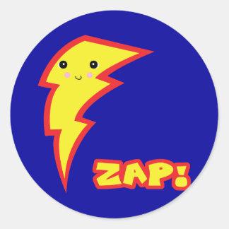 kawaii zap lightning boltt classic round sticker