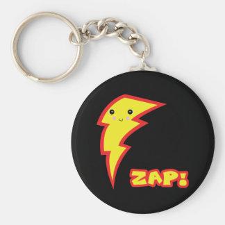 kawaii zap lightning boltt basic round button keychain