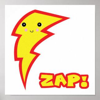 kawaii zap lightning boltt poster