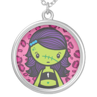 kawaii zombie silver plated necklace