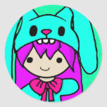 kawaiibunnythanks.jpg classic round sticker