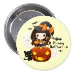 Kawaiii Halloween Pin Redondo De 3 Pulgadas