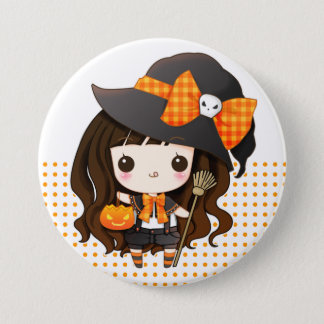 Kawaiii Halloween witch Button