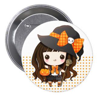 Kawaiii Halloween witch Button