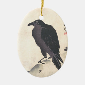 Kawanabe Kyōsai Crow Resting on Wood Trunk art Double-Sided Oval Ceramic Christmas Ornament
