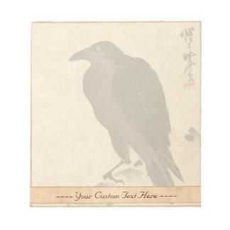 Kawanabe Kyōsai Crow Resting on Wood Trunk art Notepad
