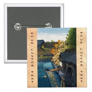 Kawanishi Village Tochigi Prefecture Hasui Kawase Pinback Buttons