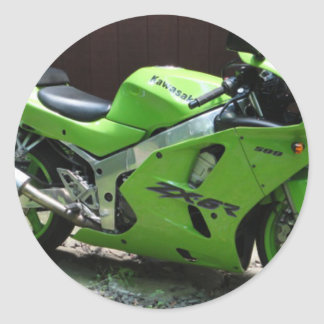 Kawasaki Green Ninja ZX-6R Motocycle, Street Bike Classic Round Sticker