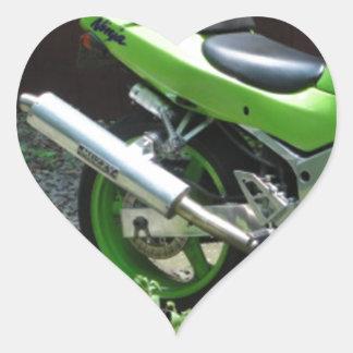 Kawasaki Green Ninja ZX-6R Motocycle, Street Bike Heart Sticker