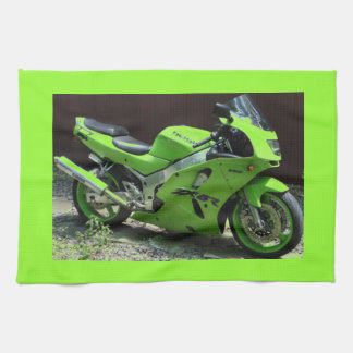 Kawasaki Green Ninja ZX-6R Motocycle, Street Bike Kitchen Towel