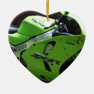 Kawasaki Green Ninja ZX-6R Motocycle, Street Bike Double-Sided Heart Ceramic Christmas Ornament