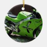 Kawasaki Green Ninja ZX-6R Motocycle, Street Bike Double-Sided Ceramic Round Christmas Ornament