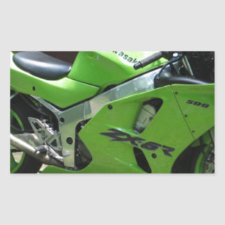 Kawasaki Green Ninja ZX-6R Motocycle, Street Bike Rectangular Sticker