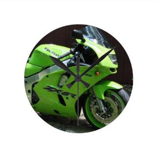 Kawasaki Green Ninja ZX-6R Motocycle, Street Bike Round Clock