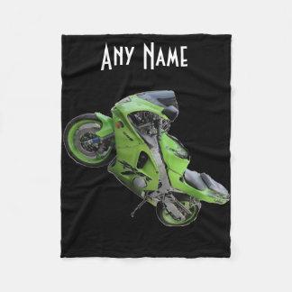 Kawasaki Green Speed Motorcycle Blanket