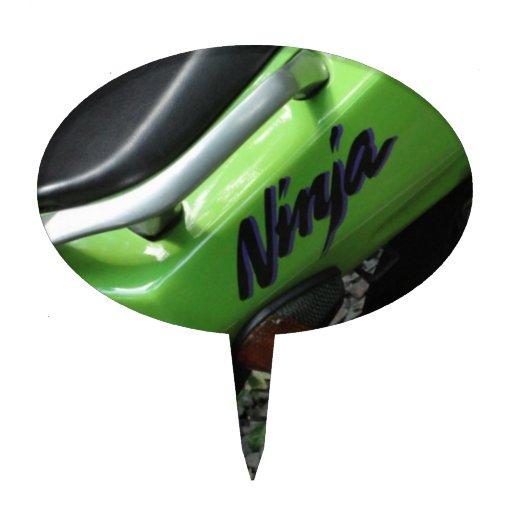 Kawasaki Ninja verde ZX-6R Motocycle, bici de la c Figuras De Tarta