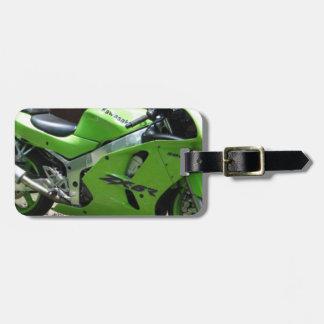 Kawasaki Ninja verde ZX-6R Motocycle, bici de la c Etiqueta Para Maleta
