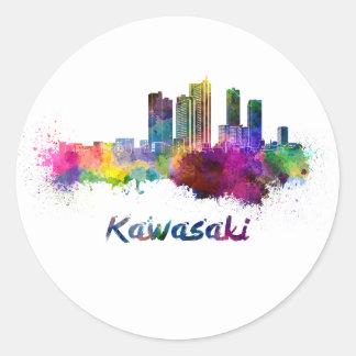 Kawasaki skyline in watercolor classic round sticker