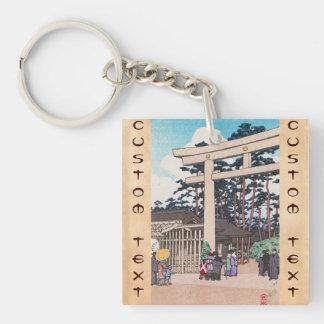 Kawase Hasui Shinto Architecture Meiji Shrine art Square Acrylic Key Chains