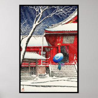 Kawase Hasui Snow at Ueno Kiyomizudo hanga art Poster