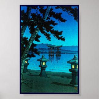 Kawase iluminado por la luna japonés fresco del ha poster