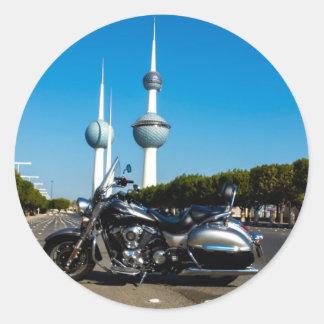 Kawazaki Nomad at Kuwait Towers Classic Round Sticker