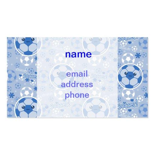 Kawii Soccer Ball Blue Pattern Business Card Template