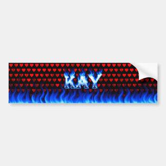 Kay blue fire and flames bumper sticker design car bumper sticker