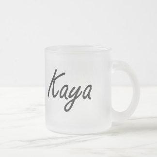 Kaya artistic Name Design 10 Oz Frosted Glass Coffee Mug