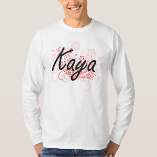 Kaya Artistic Name Design with Flowers T-shirts