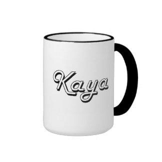 Kaya Classic Retro Name Design Ringer Coffee Mug