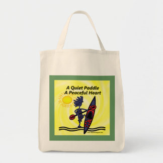 Kayak A Quiet Paddle Waves Tote Bags