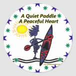 Kayak A Quiet Paddle Waves Classic Round Sticker