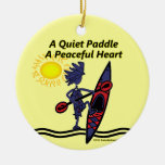 Kayak A Quiet Paddle Waves Double-Sided Ceramic Round Christmas Ornament