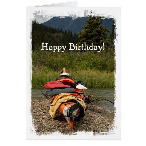 Kayak Balance; Happy Birthday Stationery Note Card | Zazzle