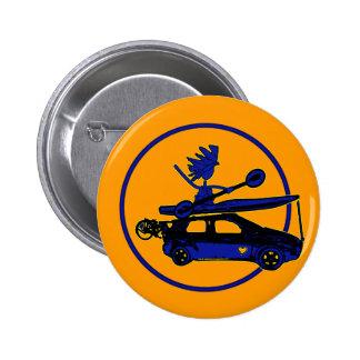 Kayak, Bike, Car On Blue 2 Inch Round Button