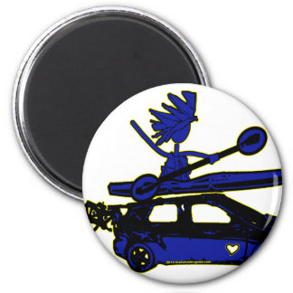 Kayak, Bike, Car On Blue 2 Inch Round Magnet