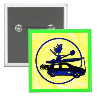 Kayak, Bike, Car On Blue 2 Inch Square Button
