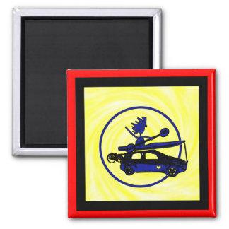 Kayak, Bike, Car On Blue 2 Inch Square Magnet