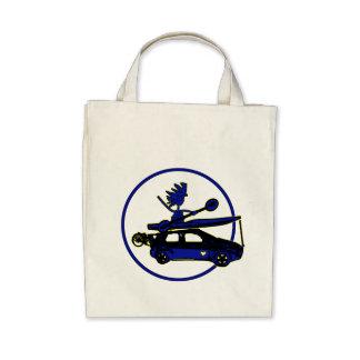 Kayak, Bike, Car On Blue Canvas Bags