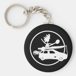 Kayak, Bike, Car On Blue Basic Round Button Keychain