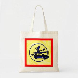Kayak, Bike, Car On Blue Budget Tote Bag