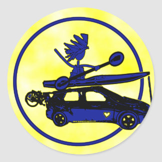Kayak, Bike, Car On Blue Classic Round Sticker