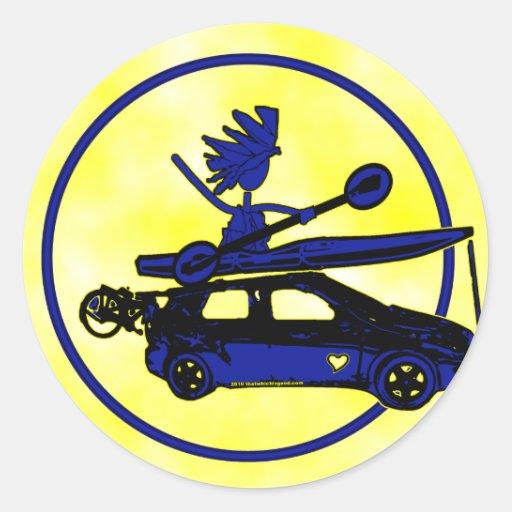 Kayak, Bike, Car On Blue Classic Round Sticker